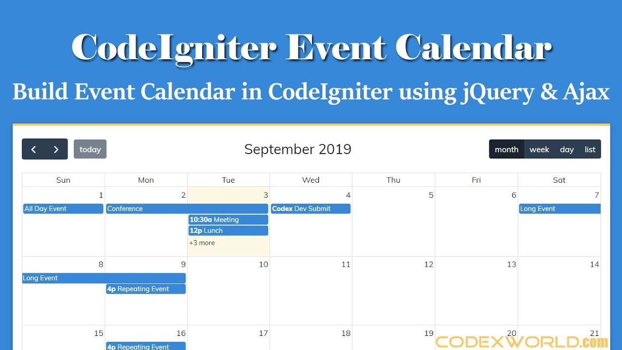 Build an Event Calendar in CodeIgniter using jQuery