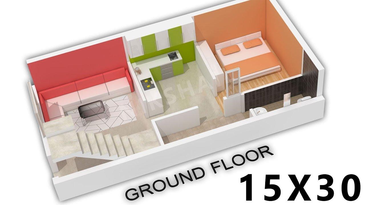 15X30 house  plan  3d  view by nikshail YouTube