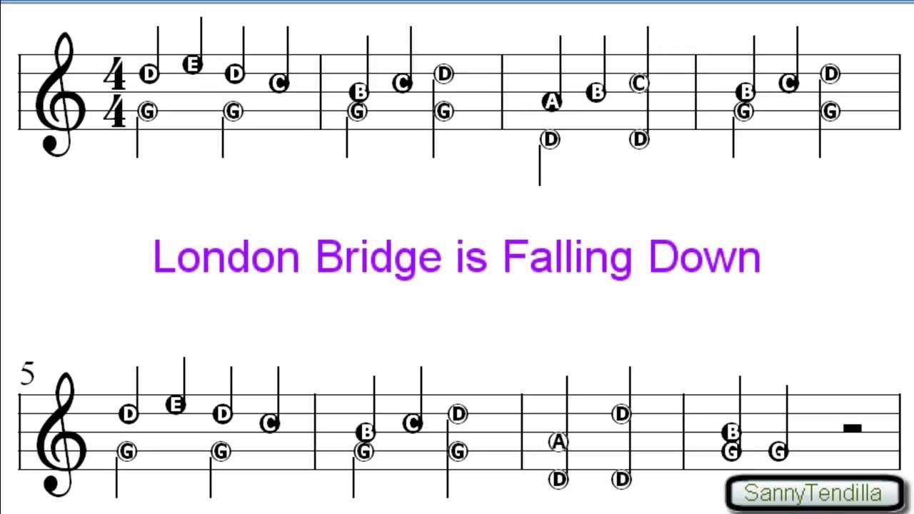 London Bridge Is Falling Down Nursery Rhymes Easy Sheet Music You