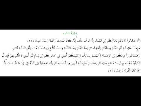 SURAH AN-NISA #AYAT 22-23: 9th January 2020