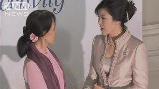 タイ訪問のスー・チーさん 首相主催の晩餐会に(12/06/01) スーチー 検索動画 15