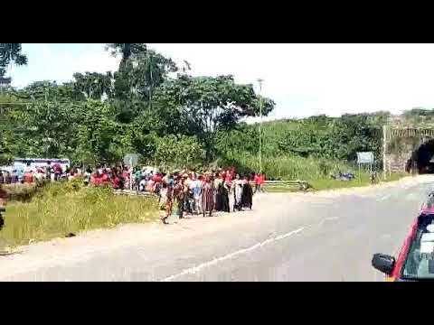 Bloody!.. Farmers demonstrate against Newmont Akyem mines.. Four shot by police officer