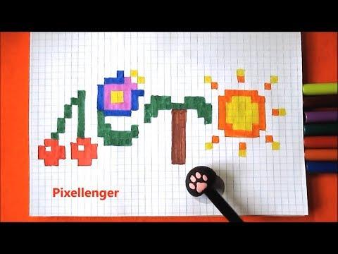 Лето Как нарисовать по клеточкам простую летнюю картинку  в тетради Пиксель Арт