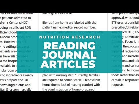 Nutrition Research: Reading Journal Articles