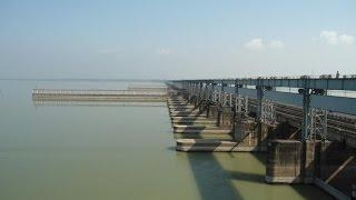 farakka barrage power plant   west bengal   long water bridge crossing in a train  train journey