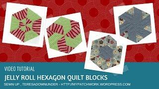 Video tutorial: Jelly roll hexagon quilt blocks