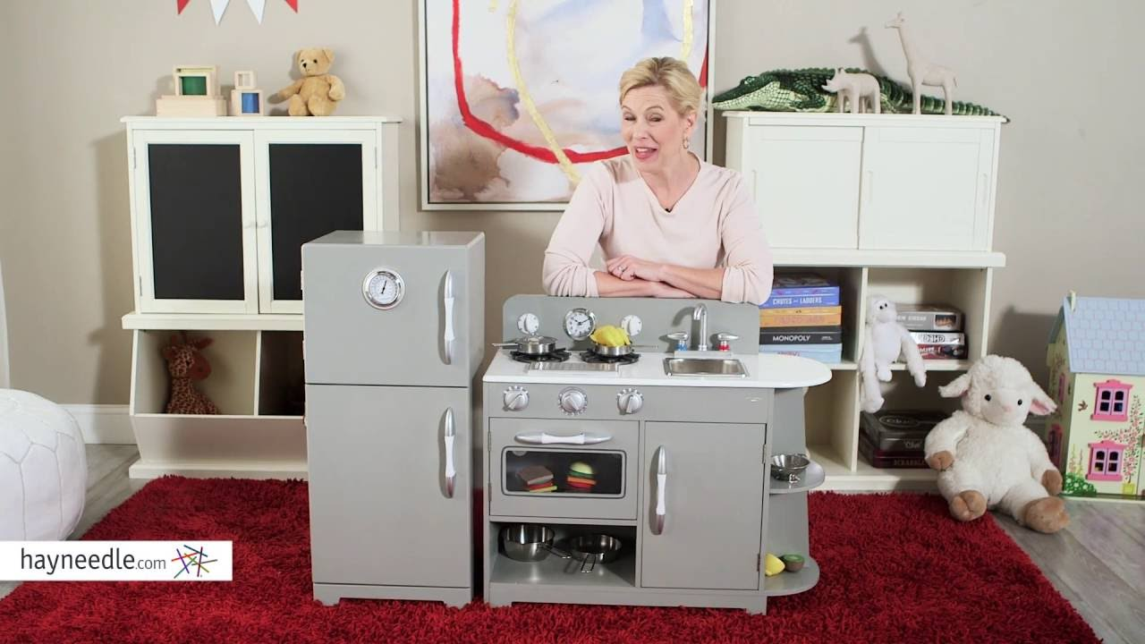 Beau Teamson Kids Gray Wooden Retro Kitchen Set   Product Review Video   YouTube