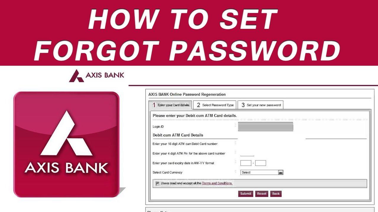 axis bank net banking new password
