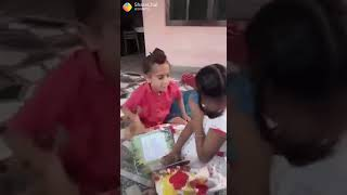 Brother and sister study funny video