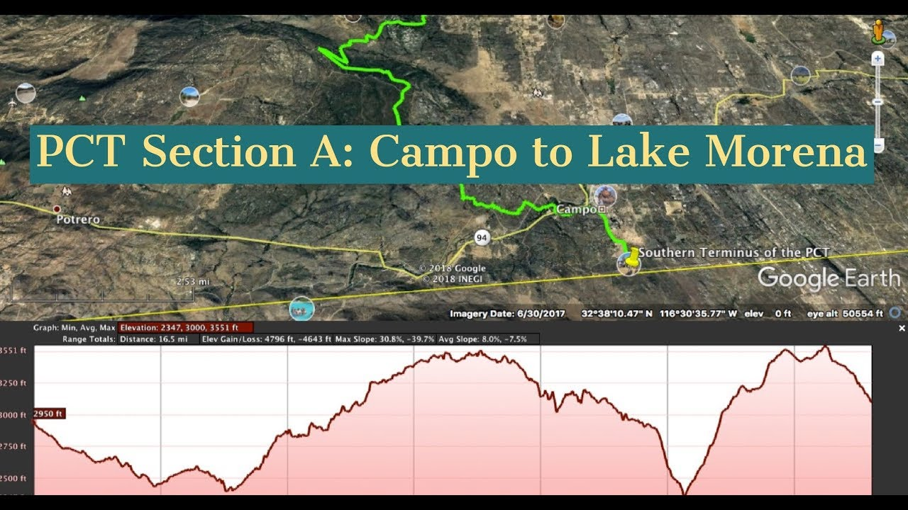 Google Earth Tour of Pacific Crest Trail (PCT) A.1 - Campo to Lake Morena -  with Music,Terrain