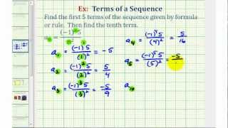 Ex 3: Finding Terms in a Sequence Given the Sequence Formula in Fraction Form
