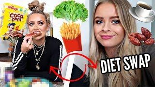 SWAPPING DIETS WITH MY BESTIE.. 😂 REALISTIC WHAT I EAT IN A DAY