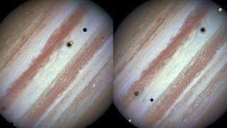 Jupiter shadowed by Europa, Callisto and Io