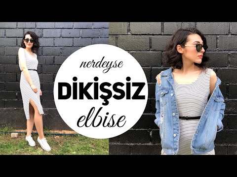 MAKİNESİZ 5 DK'DA ELBİSE DİKİMİ | Nerdeyse Dikişsiz! | DIY NO SEW DRESS