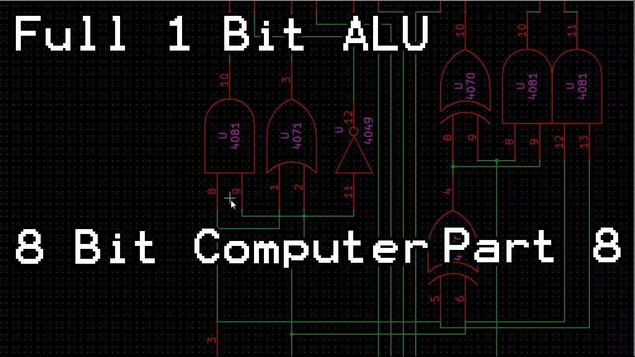 full 1 bit alu lets build 8 bit computer part 8 youtube rh youtube com 1 Bit Alu MIPS Control Circuit Diagrams