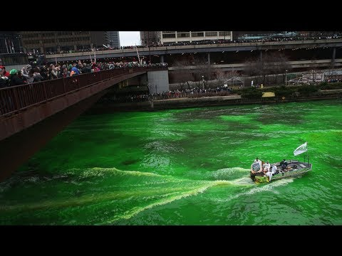 River turns green for St Patrick's Day