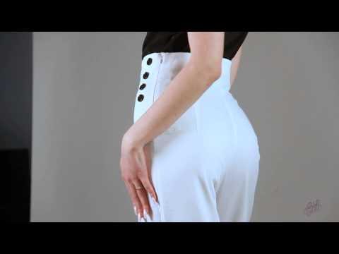 Белые брюки клеш с завышенной талией Lilo