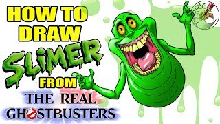 How to draw Slimer from (The real ghostbusters) step by step easy