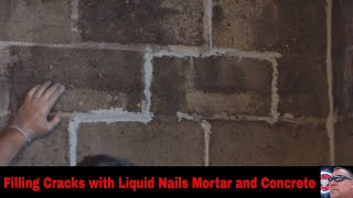 Filling in cracks with liquid nails for mortar and concrete small room