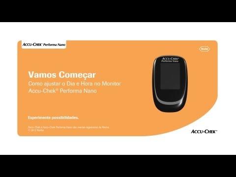 Como ajustar data e hora no seu monitor Accu-Chek Performa Nano ®