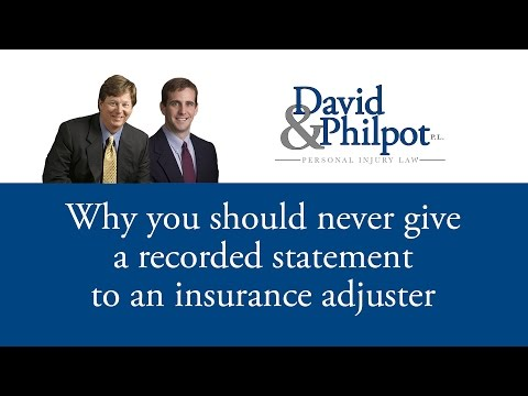 http://davidlaw.com | 800.360.7015  Many people believe that when an insurance adjuster gives you a call and tells you the conversation is going to be recorded that you have to comply. THIS...