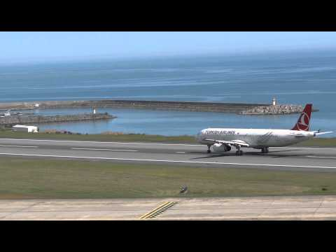 Turkish Airlines Aircraft tail number TC-JRP Depart from Trabzon airport ..