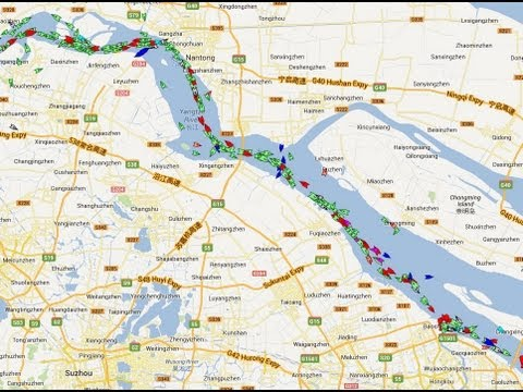 Shanghai and Yangtze River - 9  hours marine traffic in 22 seconds
