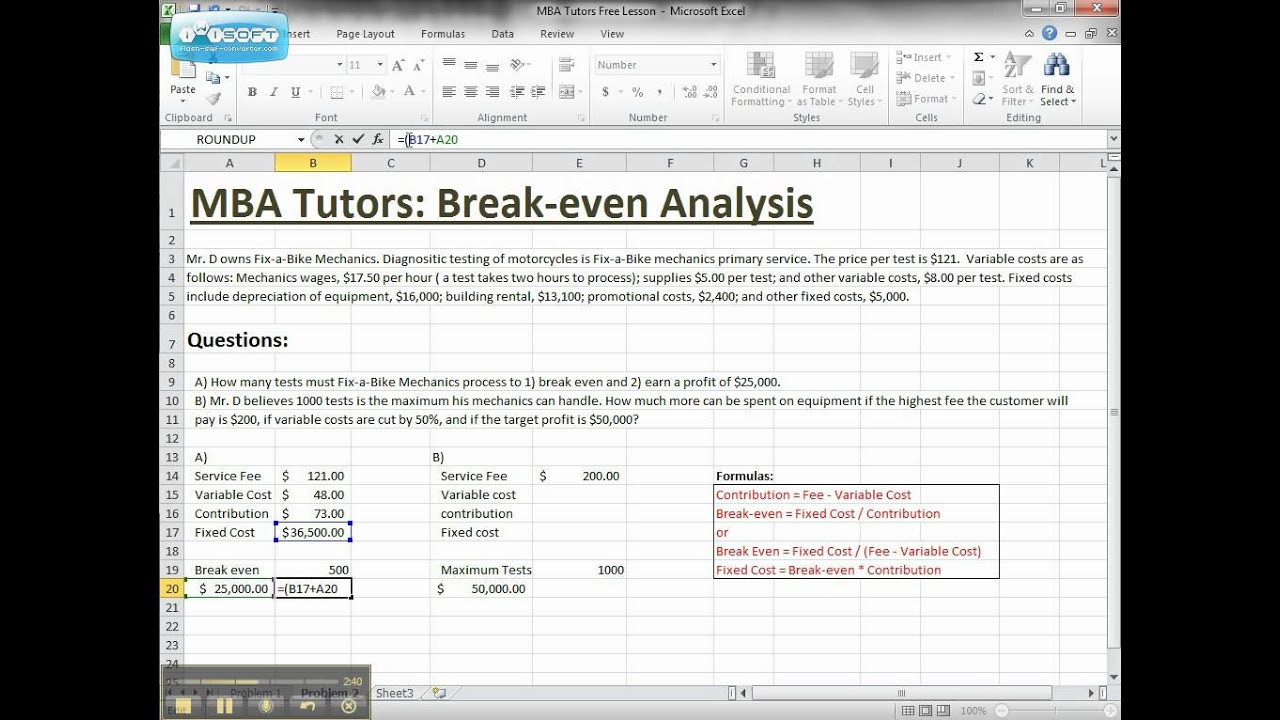 Breakeven Analysis in Excel by MBA Tutors 1avi YouTube – Excel Break Even Analysis