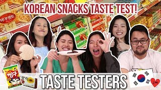 KOREAN SNACKS TASTE TEST!| Taste Testers | EP 17