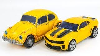 Transformers 2009 Leder Camaro Bumblebee VS 2018 Power Charge Betle Bumblebee Vehicle Car Robot Toys