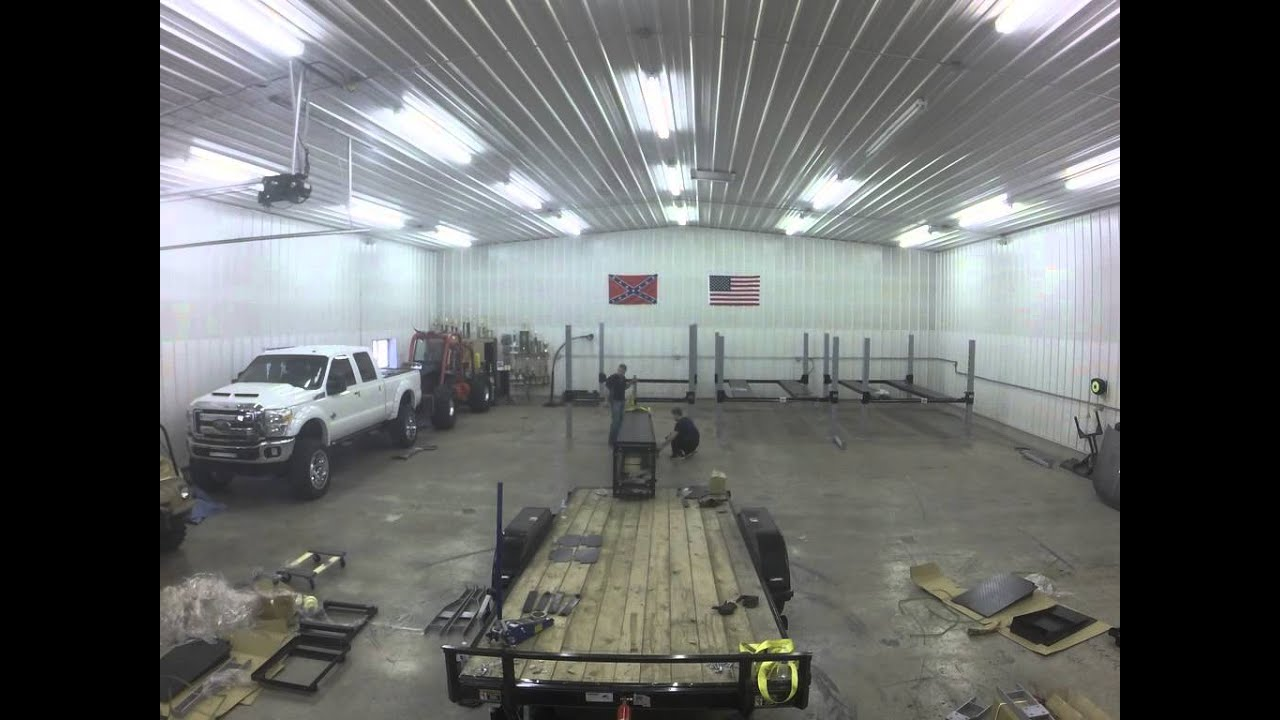 4 Post Car Lift Install - Timelapse - Wildfire Lifts
