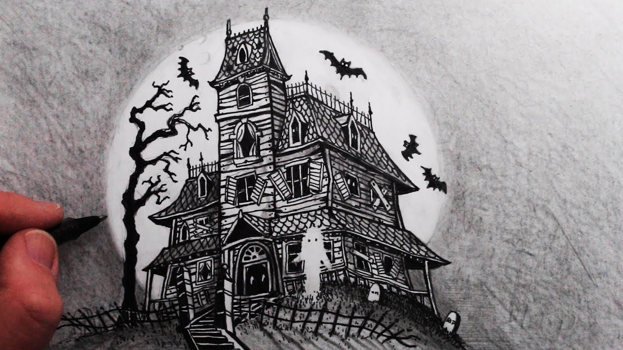 How to Draw a Haunted House: Step by Step - YouTube