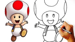 How to Draw cute Toad (Super Mario Characters) Step by Step