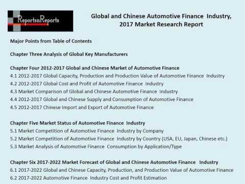 Global Automotive Finance Industry Analyzed in New Market Report