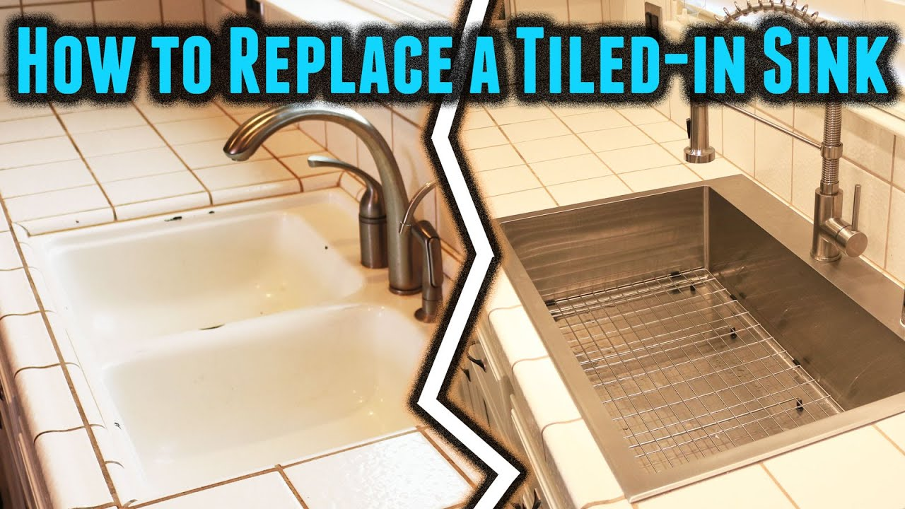 how to replace a tiled in kitchen sink