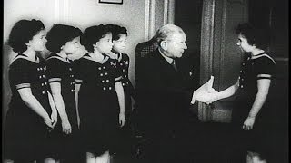 HD Historic Archival Stock Footage WWII - Quintuplets Aid War Loan Drive! 1942