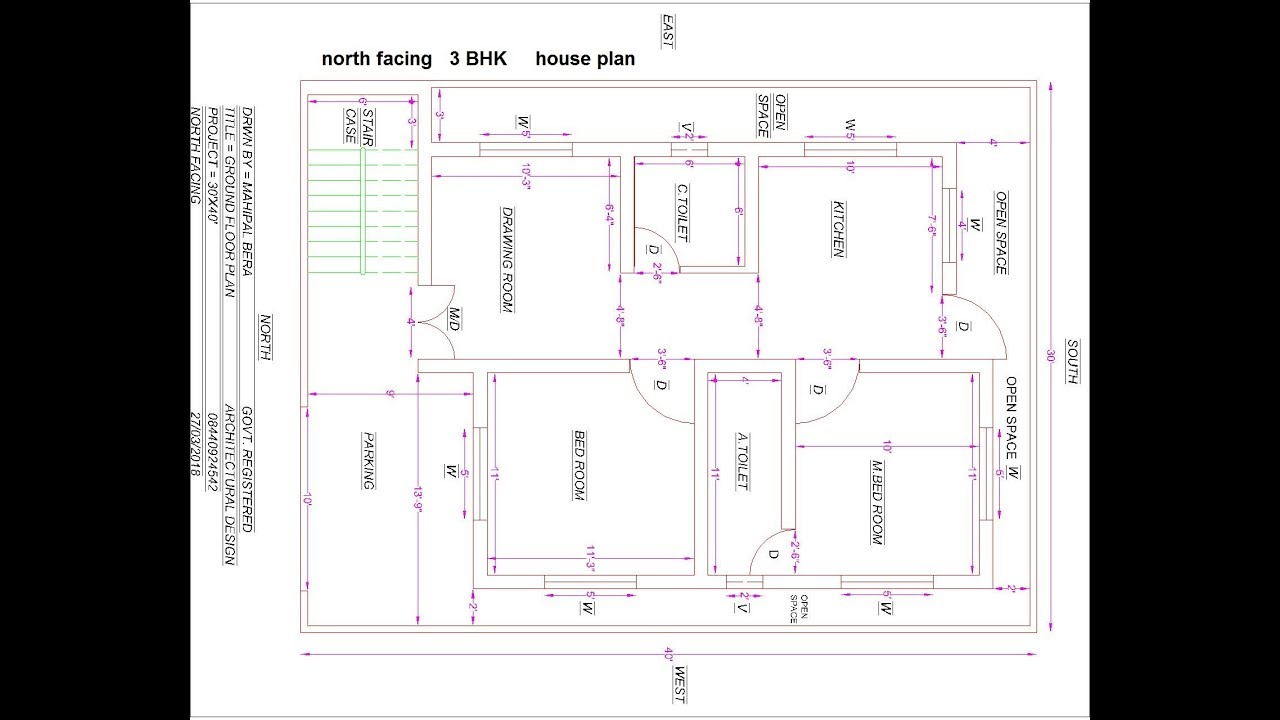 Best North Facing 3bhk House Plan Youtube