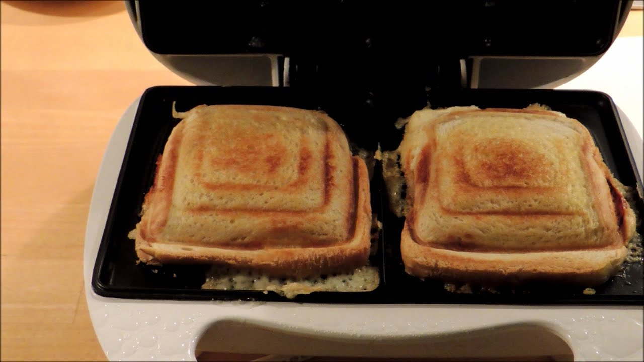 Cheese and ham toast in a sandwich maker Melissa toaster