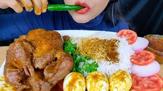 ASMR:EATING WHOLE CHICKEN CURRY AND EGGS WITH BASMATHI RICE*FOOD EATING VIDEOS*