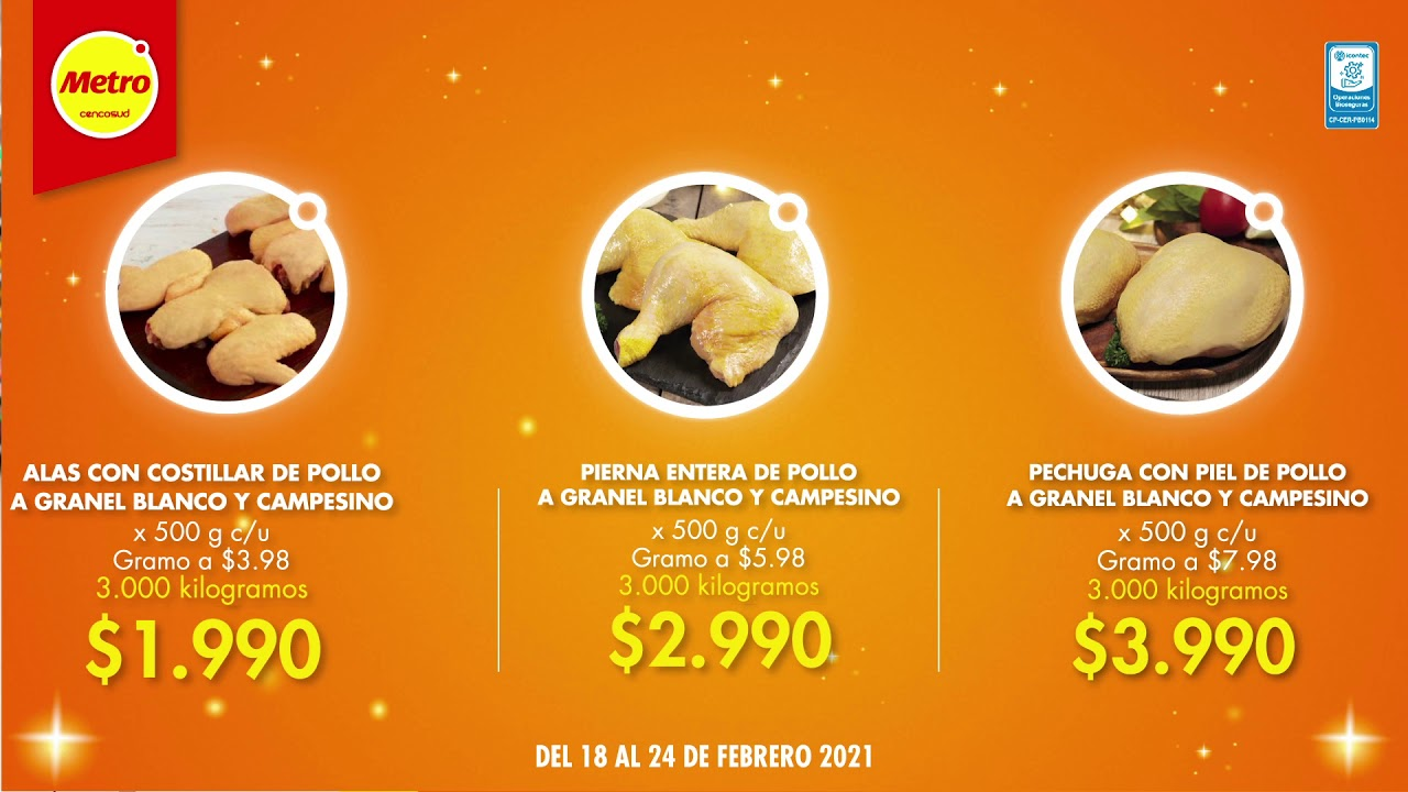 No te pierdas en la #ÑapamaníaMetro oferta en piezas de pollo blanco y campesino