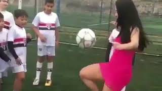 Amazing girl playing football