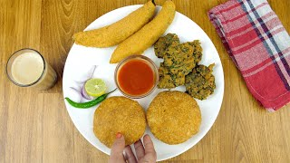 Hands of an Indian woman placing Kachoris in a plate full of delicious snacks
