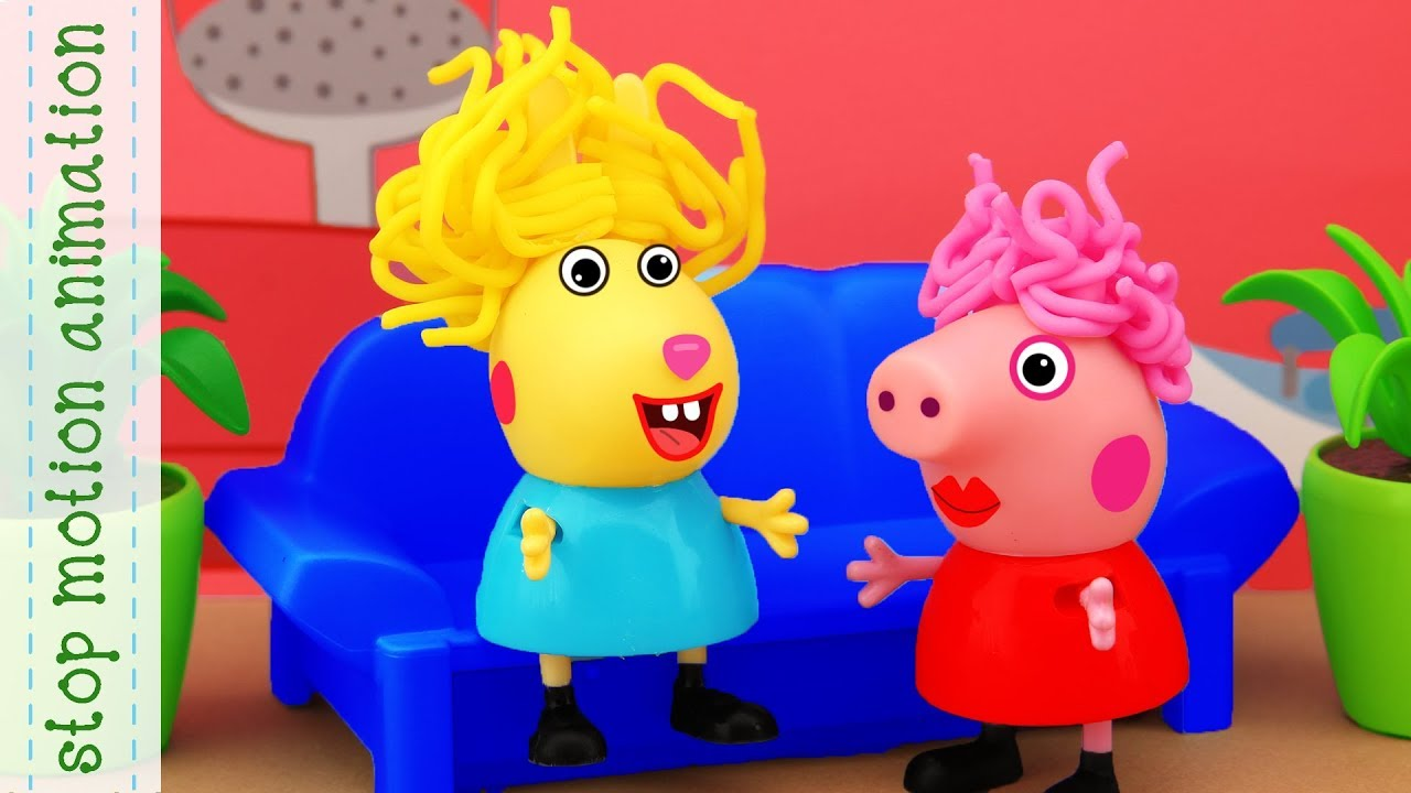 Peppa and Rebecca visit stylist Peppa Pig tv toys stop motion animation