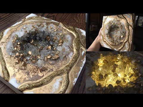 3D White and Gold Epoxy Resin Geode- Demo by DiankaPours