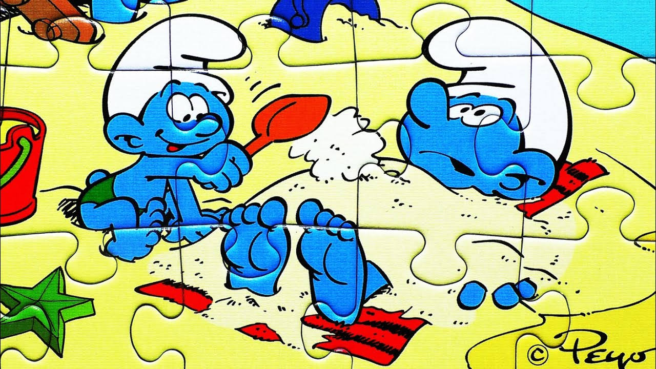 The SMURFS Puzzle Games Jigsaw Puzzles Rompecabezas Kids Learning Toys