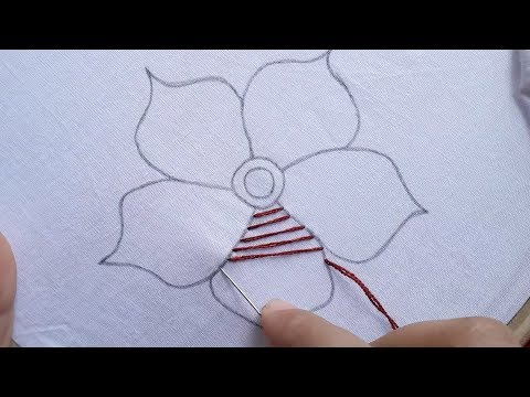 Hand embroidery cross and brazillien stitch flower design