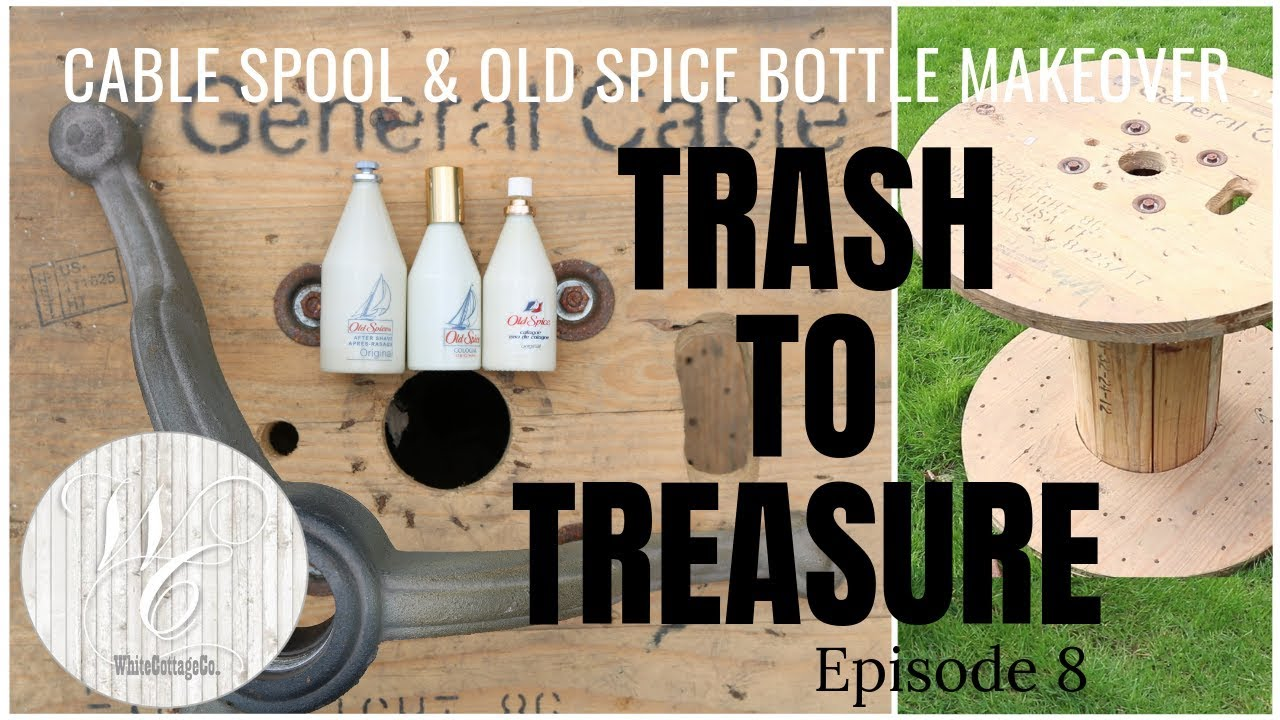 Trash To Treasure Cable Spool Makeover Episode 8 Wooden Spool Makeover Glass Bottle Painting