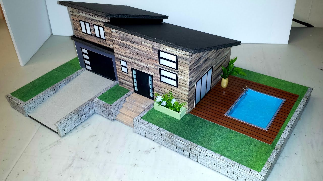 How To Make A Miniature Dollhouse With Swimming Pool Youtube