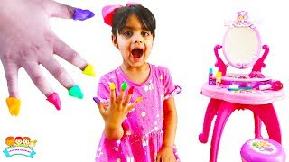 Katy and Ashu Play With Playdoh Nails Kids Fun Video | Katie Cutie Show