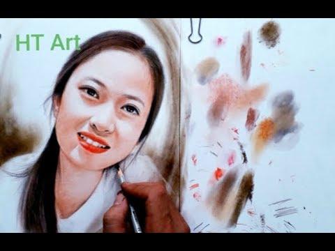 Cách vẽ chân dung bằng phấn tiên. Hướng dẫn vẽ phấn tiên . HT Art